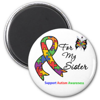 Autism Awareness For My Sister 2 Inch Round Magnet
