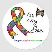 Autism Awareness For My Son Classic Round Sticker