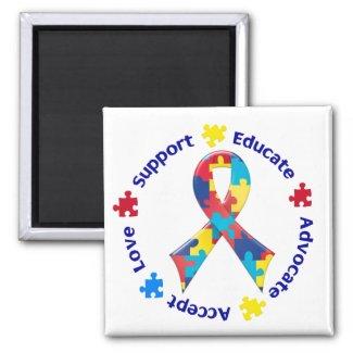 Autism Awareness Square Fridge Magnets