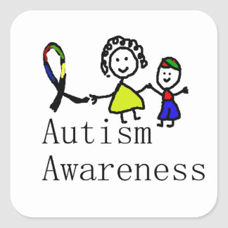 Autism Awareness Friends Square Sticker