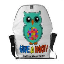 Autism Awareness Give A Hoot Owl Autism Courier Bag