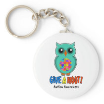 Autism Awareness Give A Hoot Owl Autism Keychain
