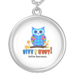 Autism Awareness Give A Hoot Owl Autism Silver Plated Necklace
