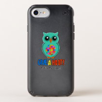 Autism Awareness Give A Hoot Owl Autism Speck iPhone Case