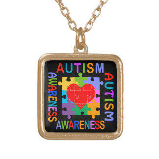 Autism Awareness Gold Plated Necklace