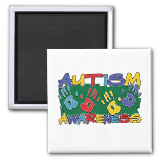 Autism Awareness Handprints 2 Inch Square Magnet