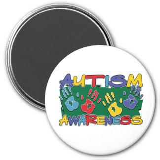 Autism Awareness Handprints 3 Inch Round Magnet
