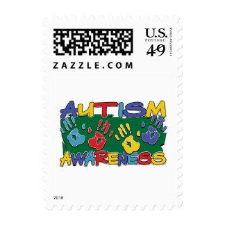 Autism Awareness Handprints Postage Stamps