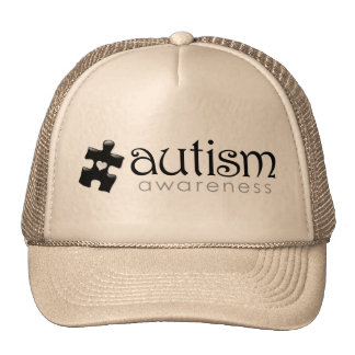 Autism Awareness Hat - Black on Tan
