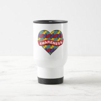 Autism Awareness Heart Banner 15 Oz Stainless Steel Travel Mug