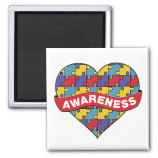 Autism Awareness Heart Banner 2 Inch Square Magnet