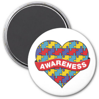 Autism Awareness Heart Banner 3 Inch Round Magnet