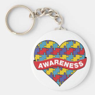 Autism Awareness Heart Banner Basic Round Button Keychain