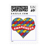 Autism Awareness Heart Banner Postage Stamp