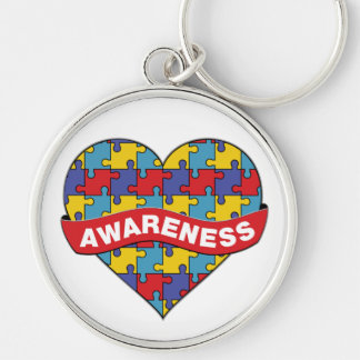 Autism Awareness Heart Banner Silver-Colored Round Keychain