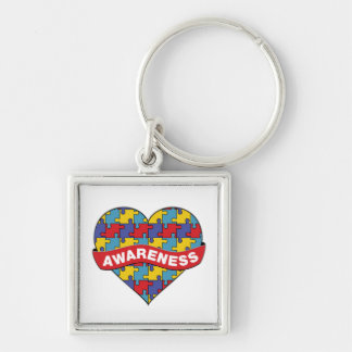 Autism Awareness Heart Banner Silver-Colored Square Keychain