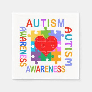Autism Awareness Heart Paper Napkin