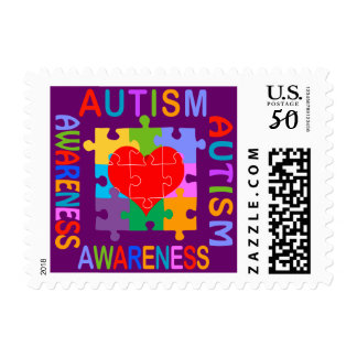 Autism Awareness Heart Postage