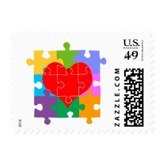 Autism Awareness Heart Postage Stamp