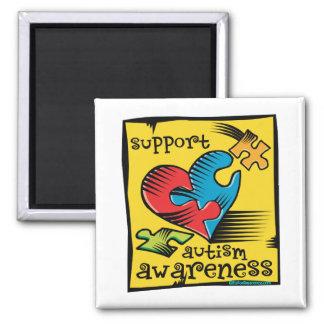 Autism Awareness Heart Puzzle Pieces 2 Inch Square Magnet