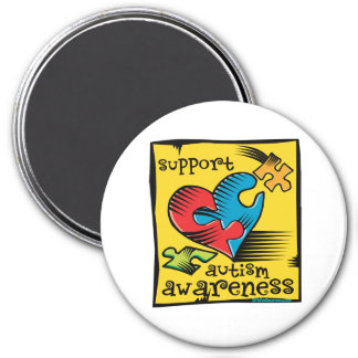 Autism Awareness Heart Puzzle Pieces 3 Inch Round Magnet