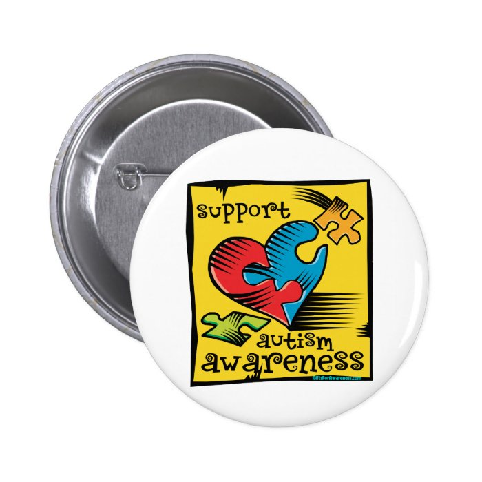 Autism Awareness Heart Puzzle Pieces Button