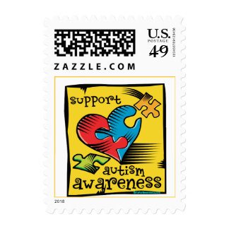 Autism Awareness Heart Puzzle Pieces Postage Stamp