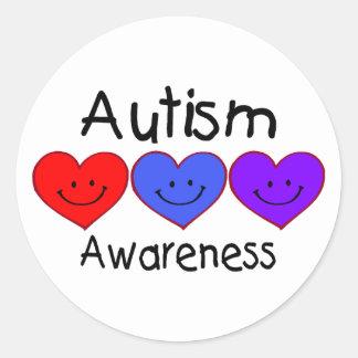 Autism Awareness (Hearts) Classic Round Sticker