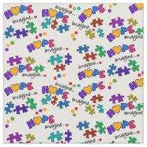 Autism Awareness Hope & Imagine Fabric