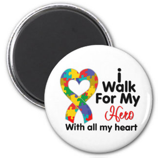 Autism Awareness I Walk For My Hero 2 Inch Round Magnet