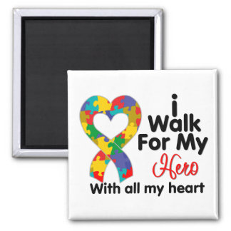 Autism Awareness I Walk For My Hero 2 Inch Square Magnet
