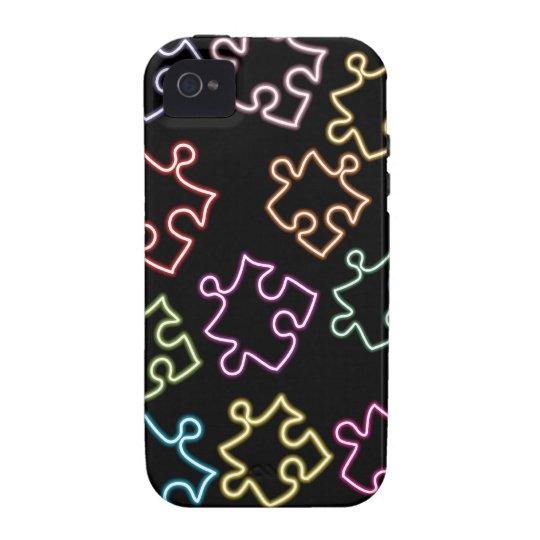 Autism Awareness iPhone 4 Case Neon Puzzle