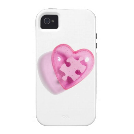 Autism Awareness iPhone 4 Case Pink Heart Puzzle