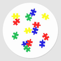 AUTISM AWARENESS ITEMS, puzzle pieces products Classic Round Sticker