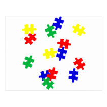 AUTISM AWARENESS ITEMS, puzzle pieces products Postcard