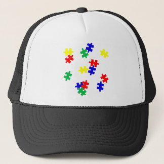 AUTISM AWARENESS ITEMS, puzzle pieces products Trucker Hat