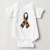 Autism Awareness Jigsaw Puzzle Ribbon Products Baby Bodysuit