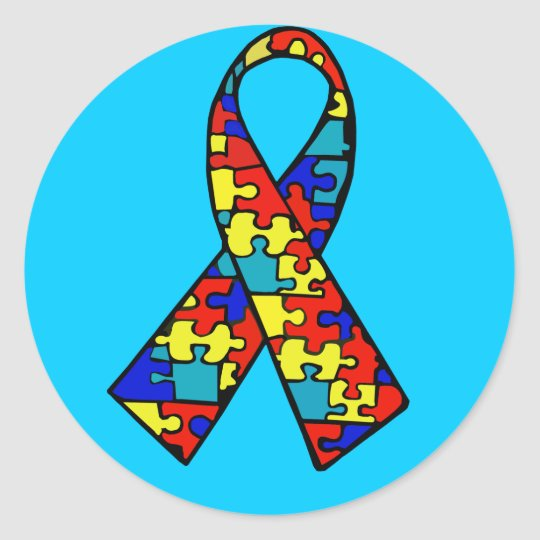Autism Awareness Jigsaw Puzzle Ribbon Products Classic Round Sticker