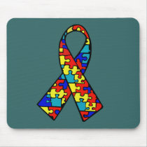 Autism Awareness Jigsaw Puzzle Ribbon Products Mouse Pad