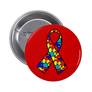 Autism Awareness Jigsaw Puzzle Ribbon Products Pinback Button