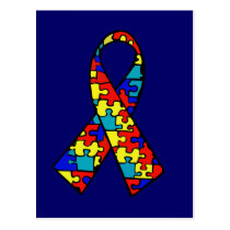 Autism Awareness Jigsaw Puzzle Ribbon Products Postcard