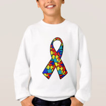Autism Awareness Jigsaw Puzzle Ribbon Products Sweatshirt