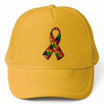 Autism Awareness Jigsaw Puzzle Ribbon Products Trucker Hat