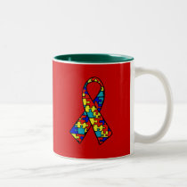 Autism Awareness Jigsaw Puzzle Ribbon Products Two-Tone Coffee Mug