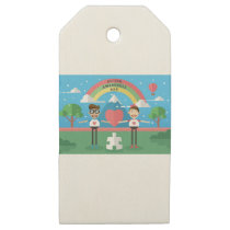 autism awareness kids wooden gift tags