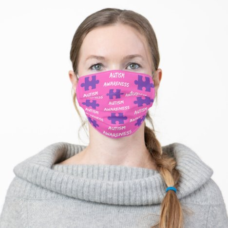 Autism Awareness Mask in Pink and Purple
