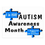Autism Awareness Month (1 in 150 1 Every 20 Min) Postcards