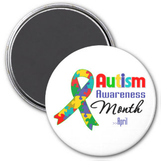 Autism Awareness Month 3 Inch Round Magnet