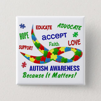 AUTISM AWARENESS MONTH APRIL BUTTON