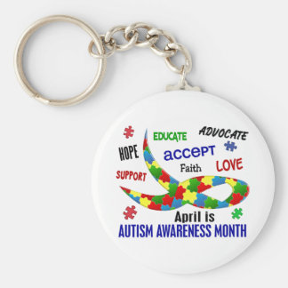 AUTISM AWARENESS MONTH APRIL BASIC ROUND BUTTON KEYCHAIN